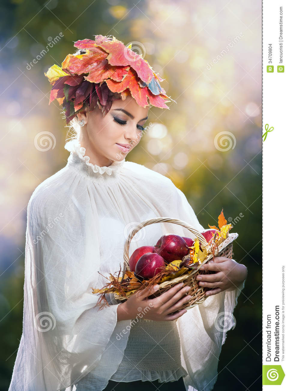 Autumn Woman Beautiful Creative Makeup And Hair Style In Outdoor Shoot Beauty Fashion Model