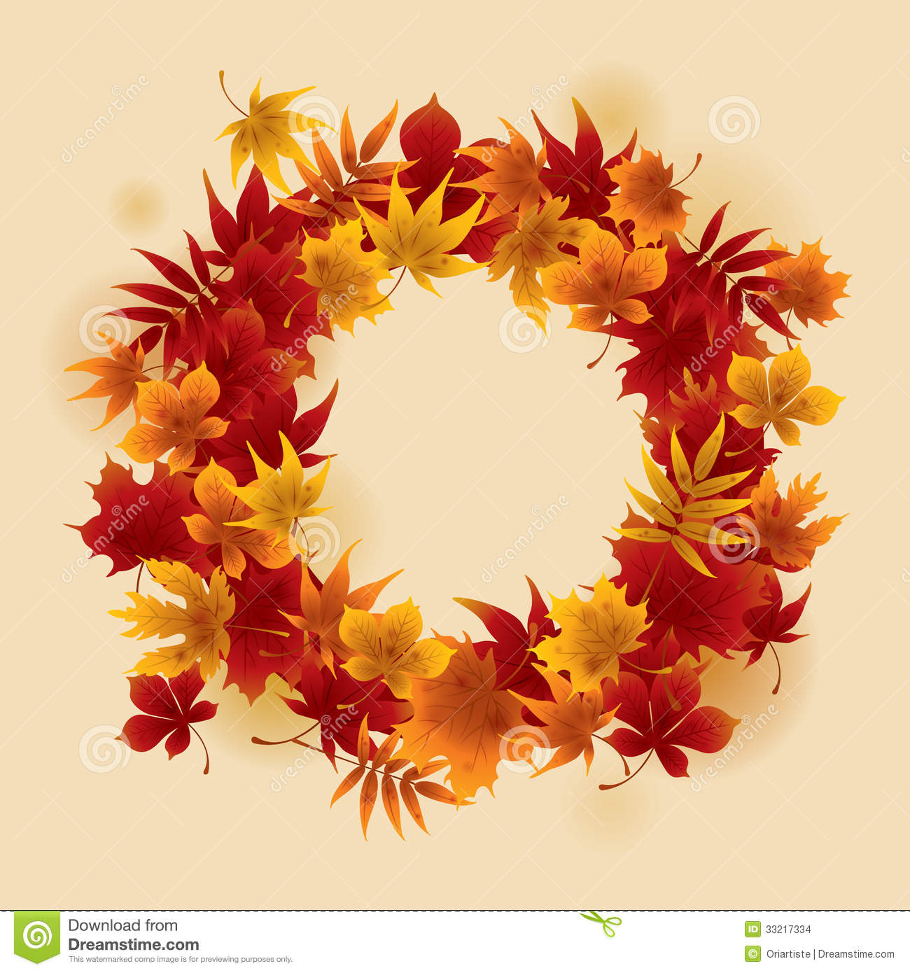 Fall Leaves Watercolor Wallpaper Autumn Wreath Stock Vector Illustration Of Nature Wreath