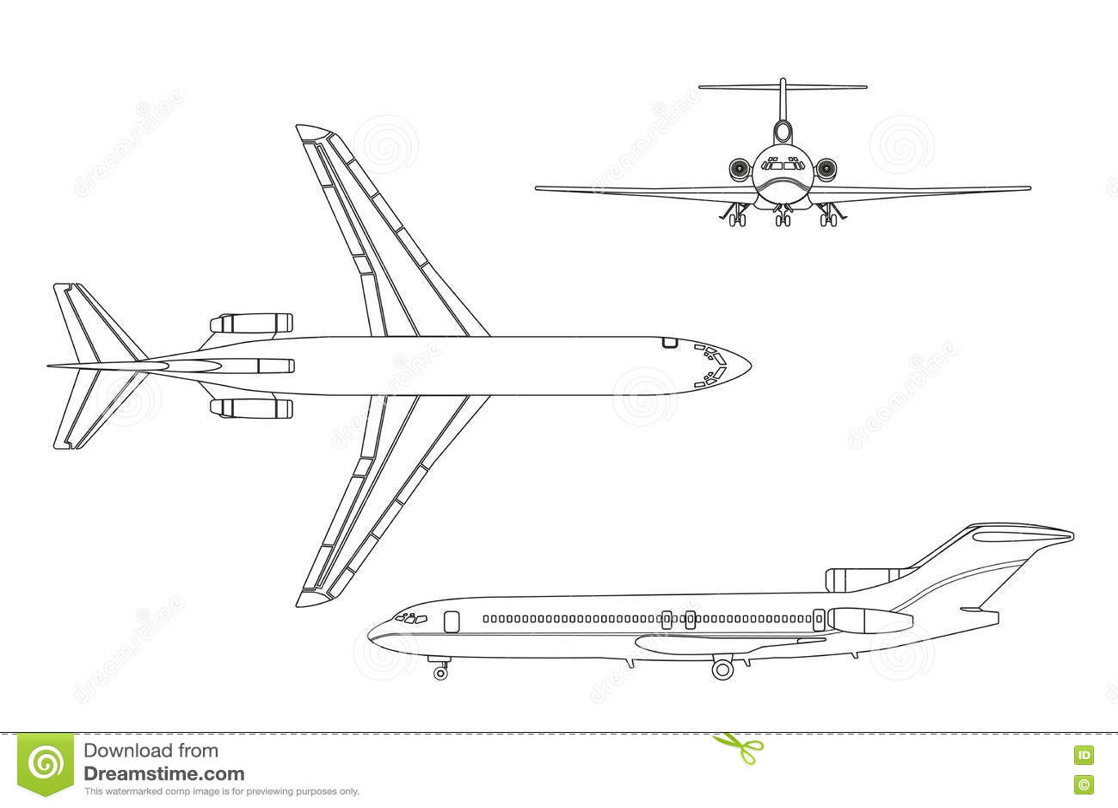 Avion Del Dibujo De Esquema En Un Fondo Blanco Top Frente