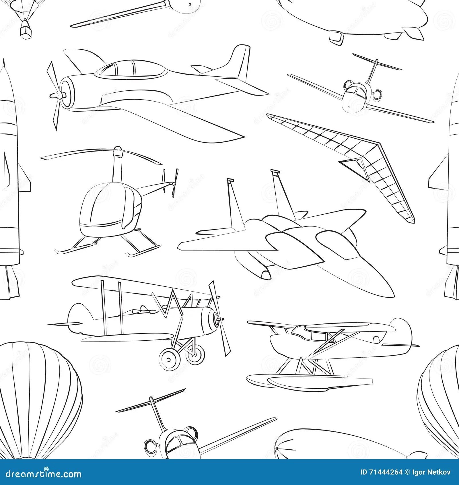 Aviation Icons Set Pattern Stock Vector Illustration Of