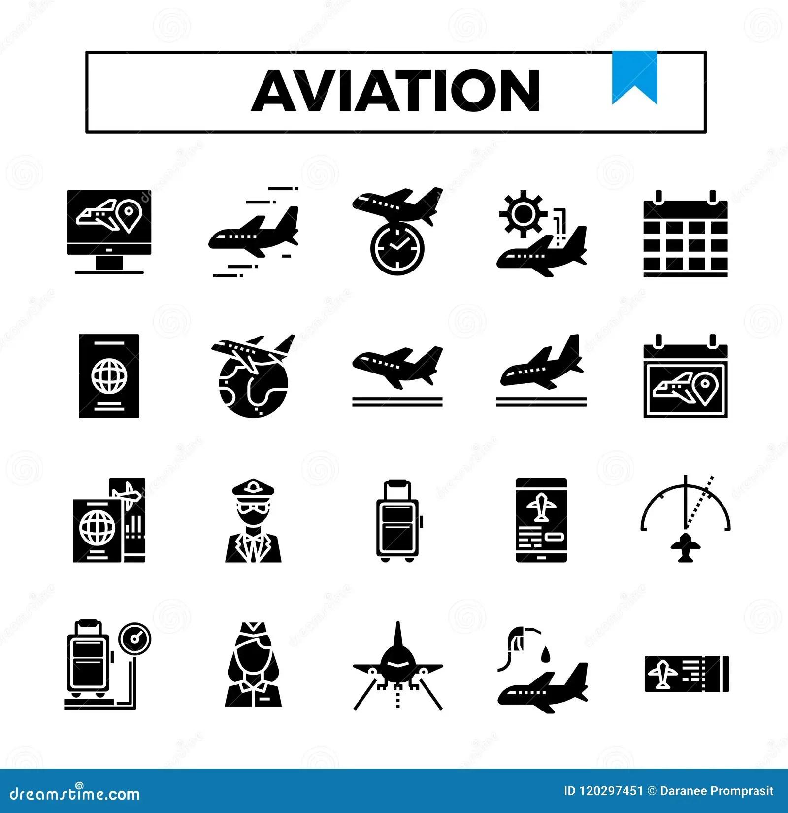 Aviation Glyph Design Icon Set. Stock Illustration