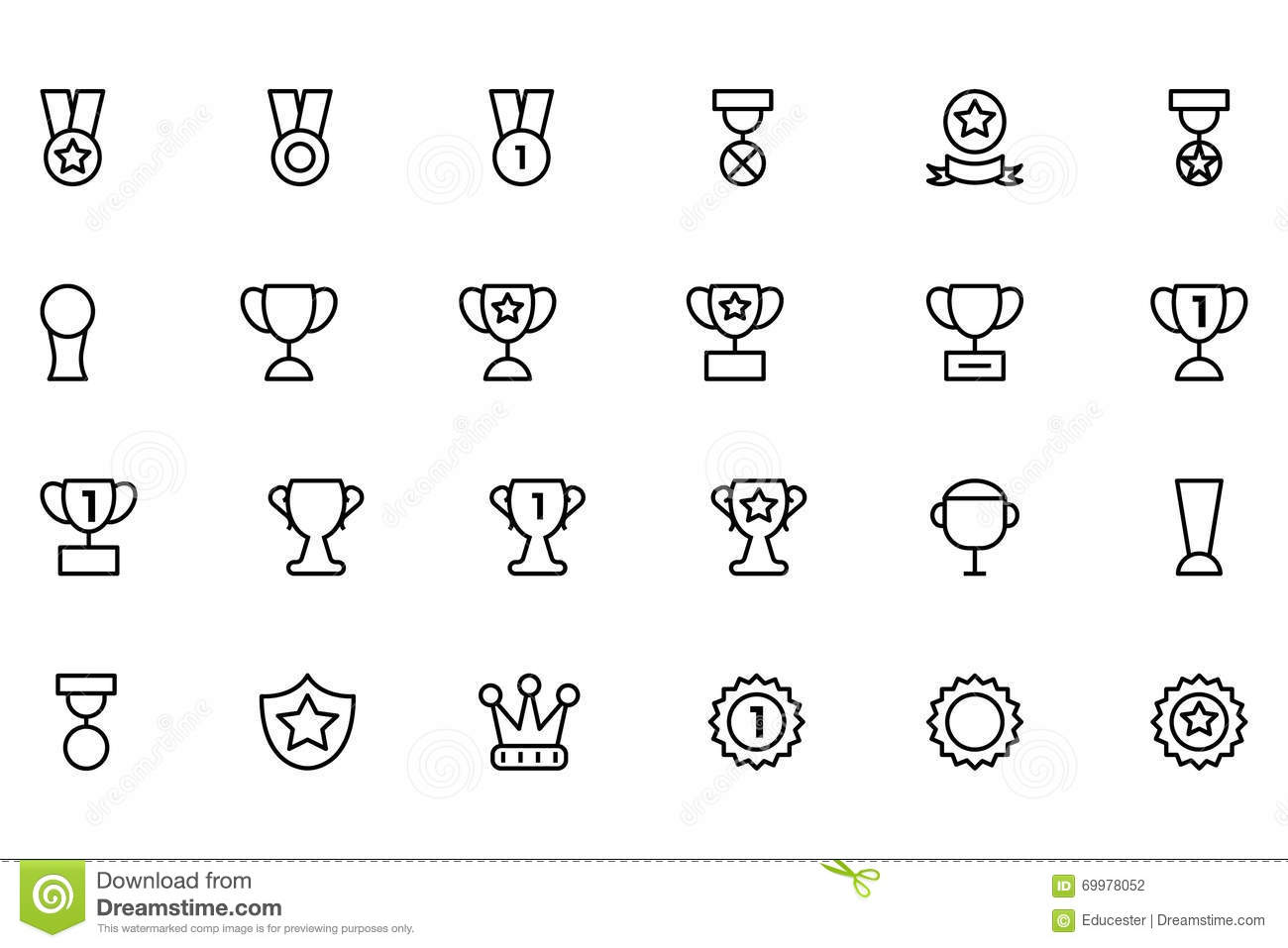 Award And Medal Vector Line Icons 2 Stock Illustration