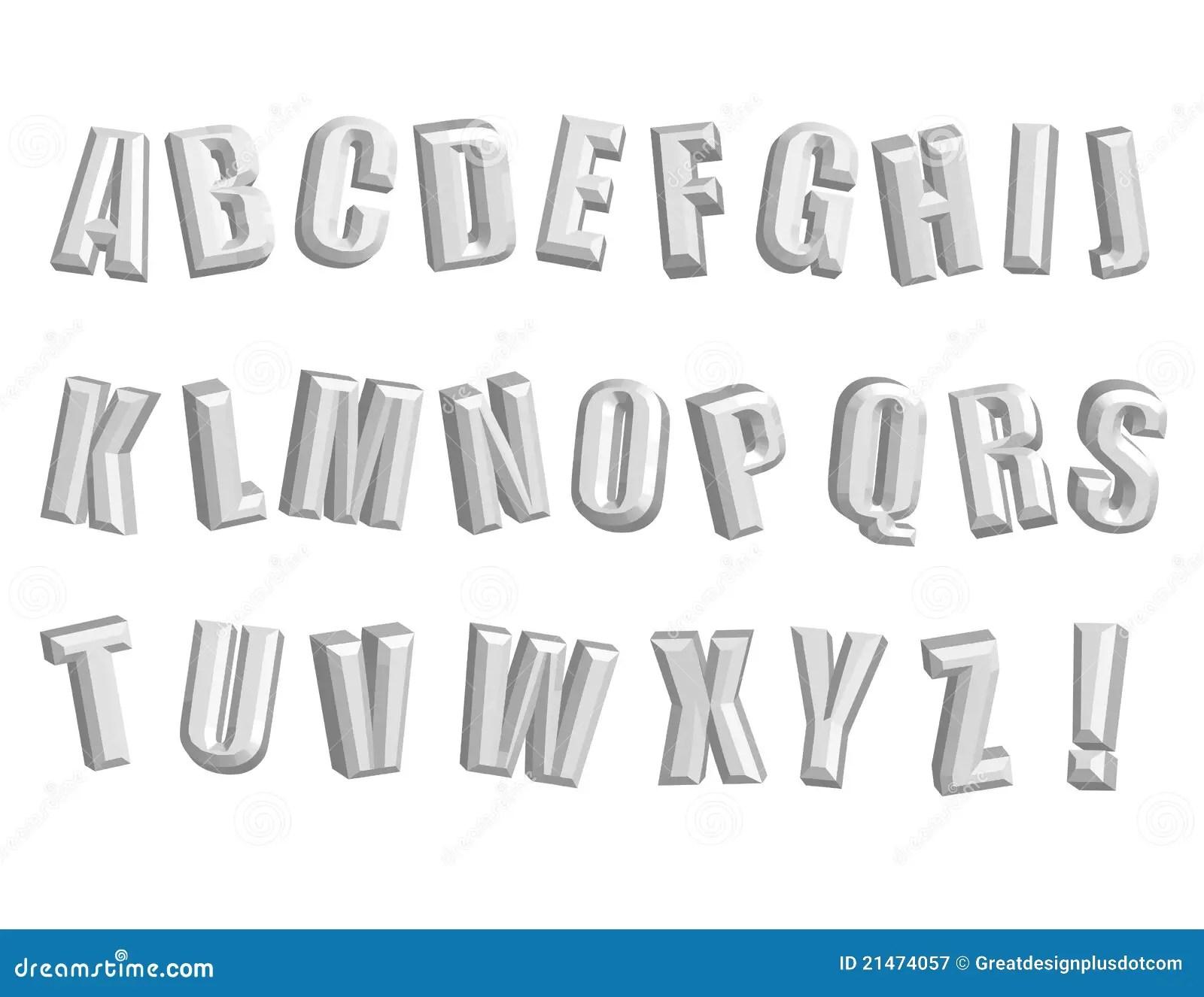 Awesome 3d Alphabet Vector Clip Art Stock Vector