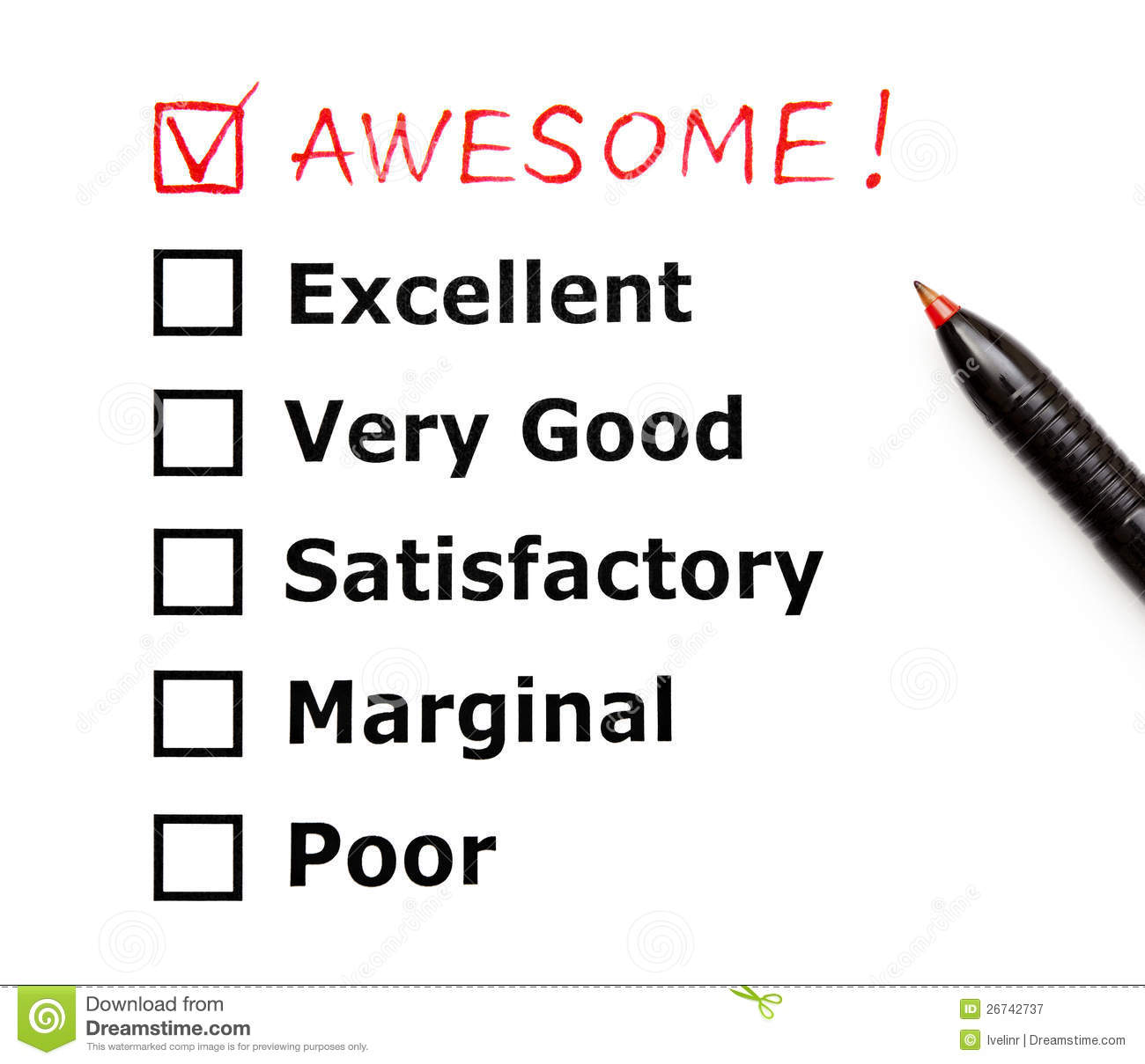 Awesome Customer Evaluation Form Royalty Free Stock