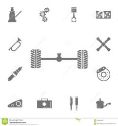 axle and wheel car icon set of car repair icons signs of collection  [ 1300 x 1390 Pixel ]