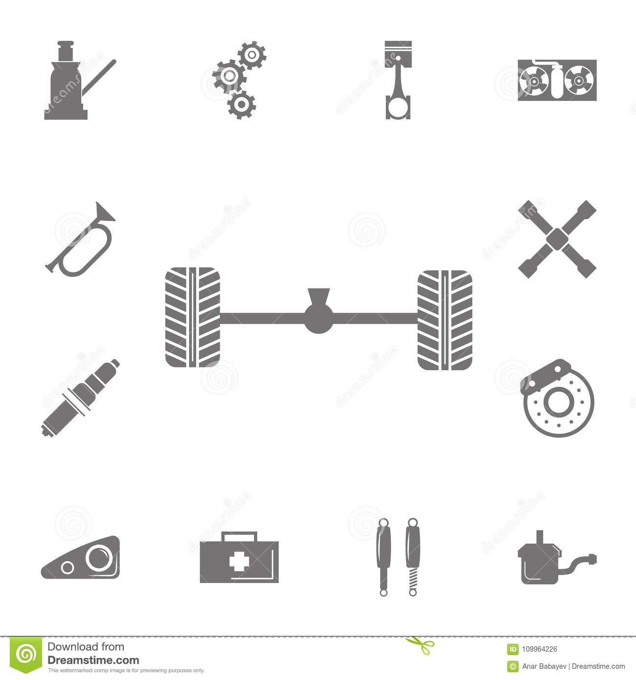 hight resolution of axle and wheel car icon set of car repair icons signs of collection