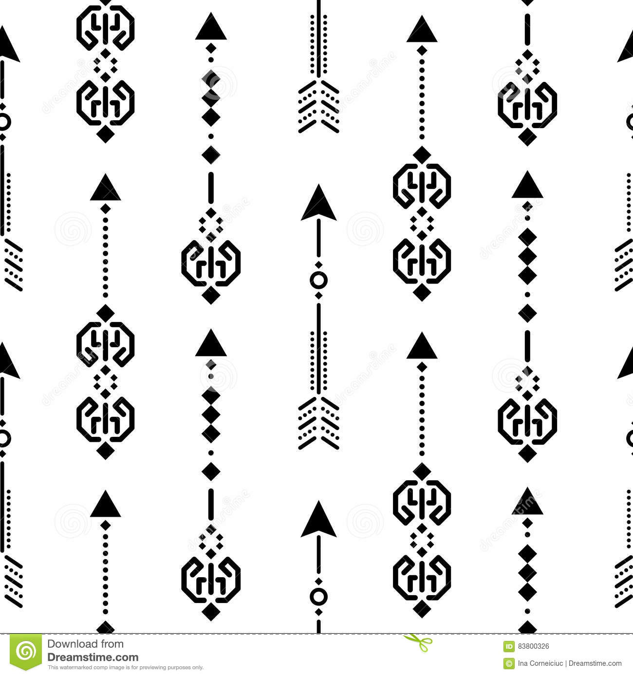 Aztec Ethnic Arrow Ornament Seamless Vector Pattern Stock