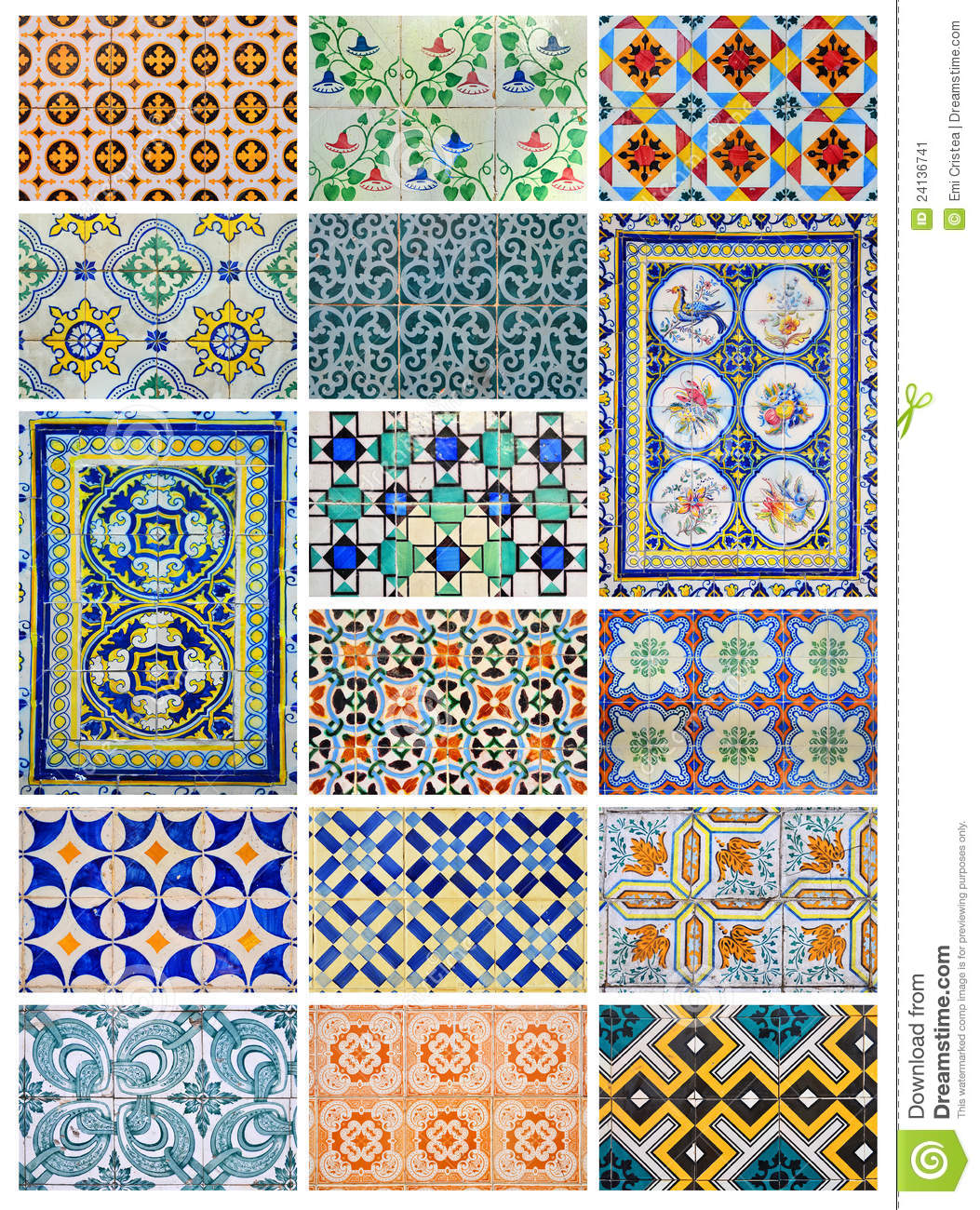 Azulejo Design Collage From Lisbon Portugal Stock Image