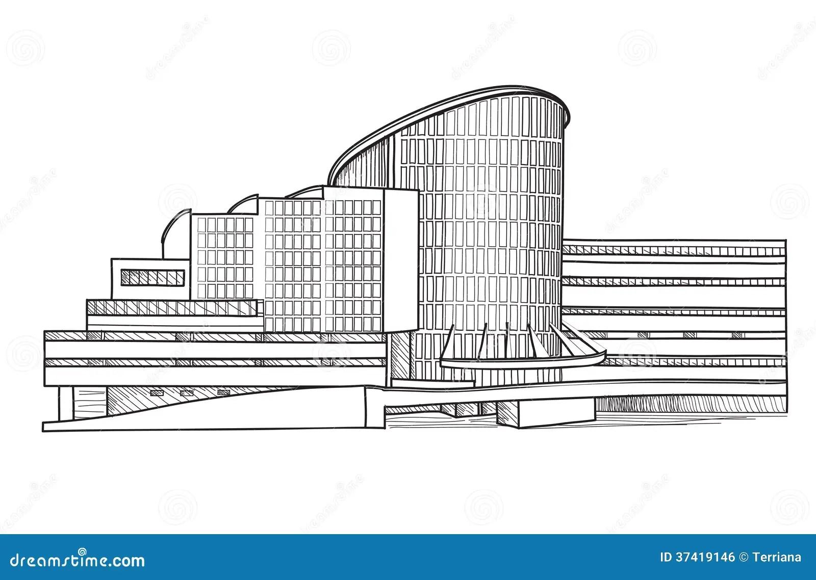 Bâtiment Moderne. Croquis Architectural. Collection De