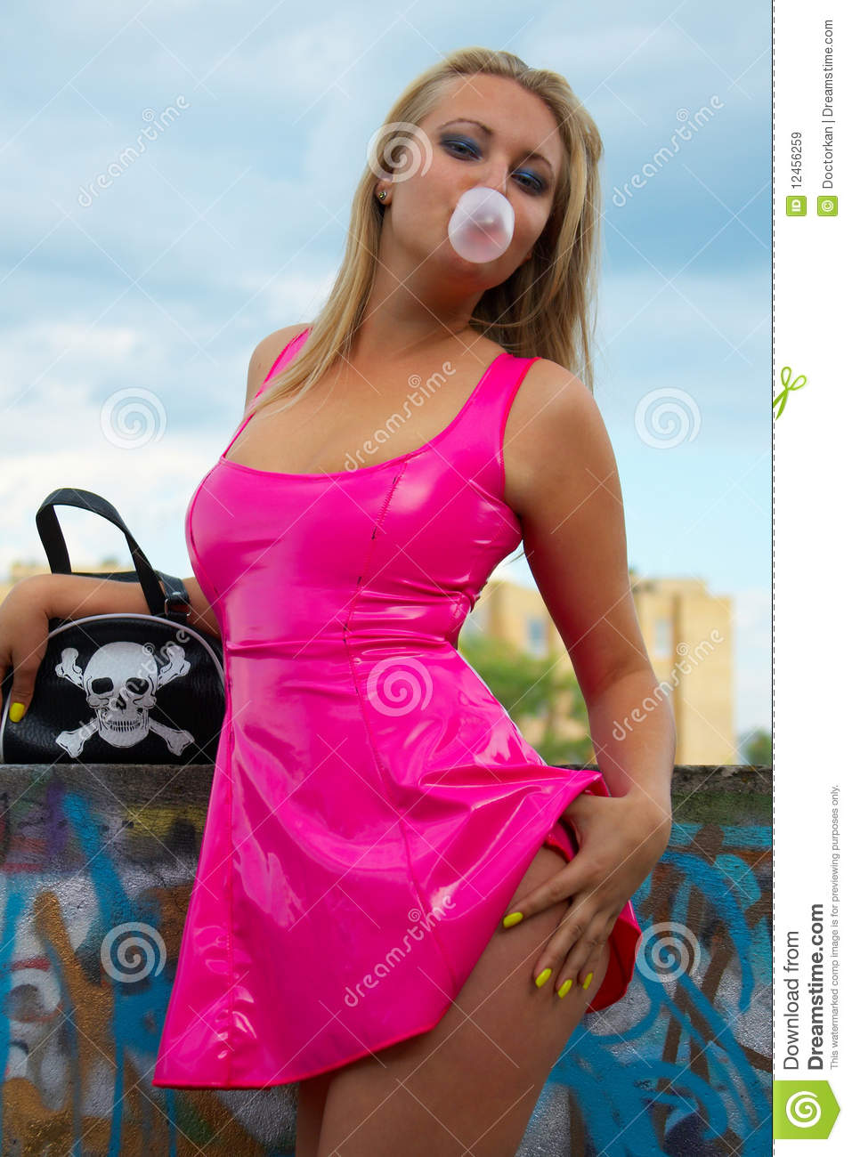Wallpaper Of Stylish Little Girl Babe In Pink Latex Stock Image Image Of Streetwalker