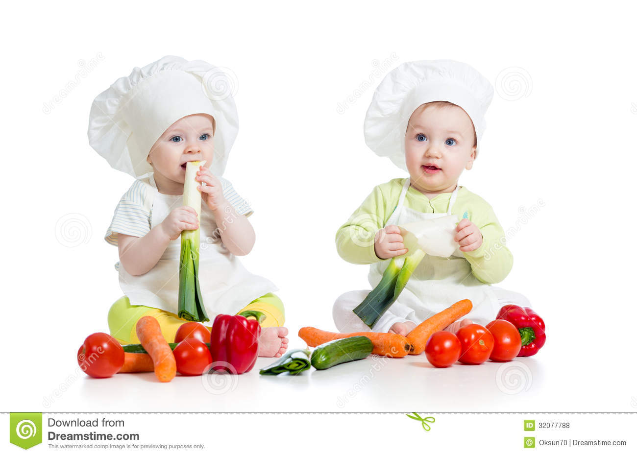 Girl And Boy Sitting Together Wallpaper Babies Boy And Girl With Healthy Food Vegetables Royalty