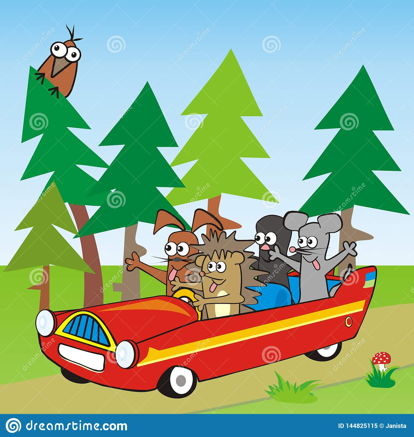 Baby Animal And Car Landscape With Forest And Bird
