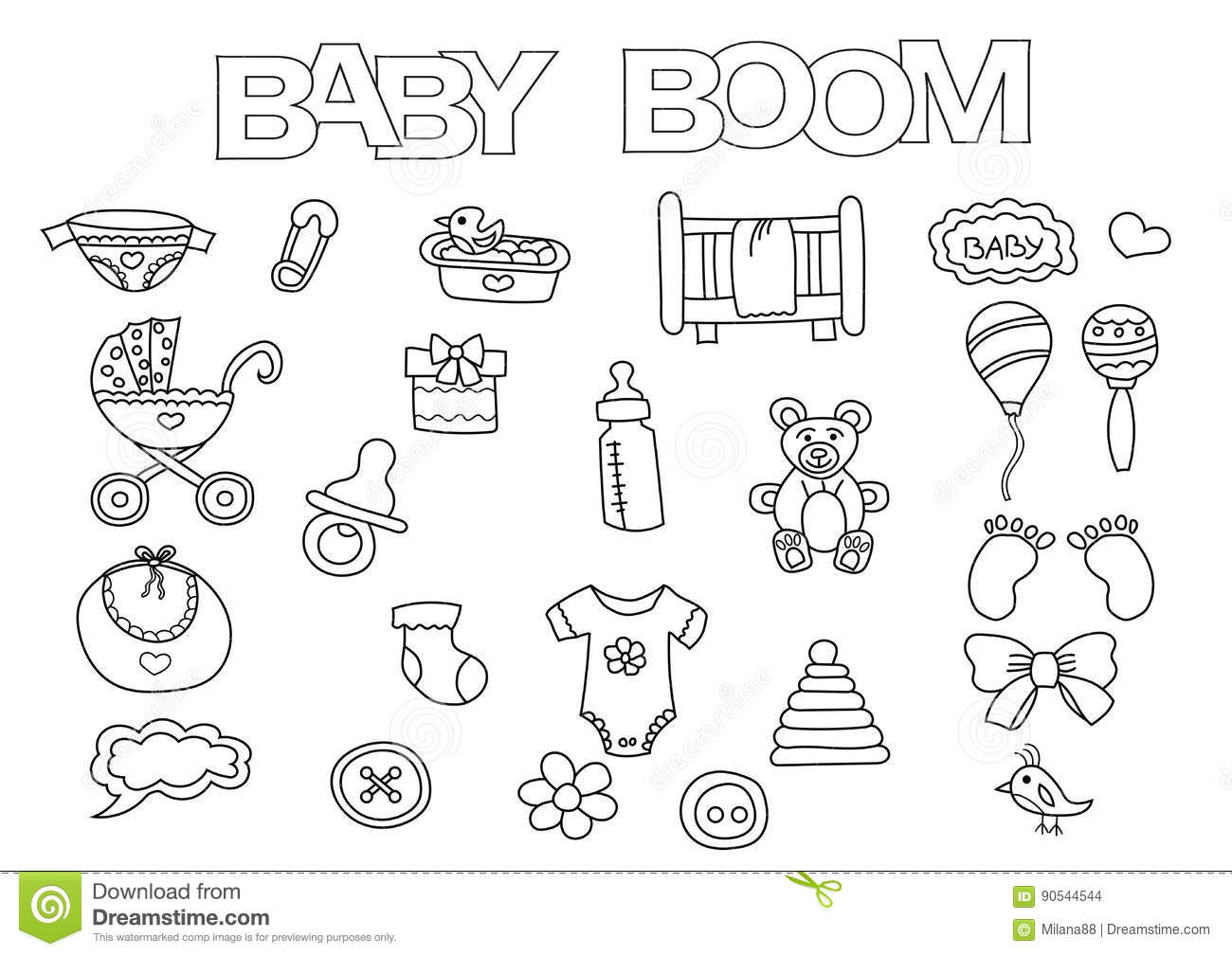 Baby Boom Elements Hand Drawn Set. Coloring Book Template