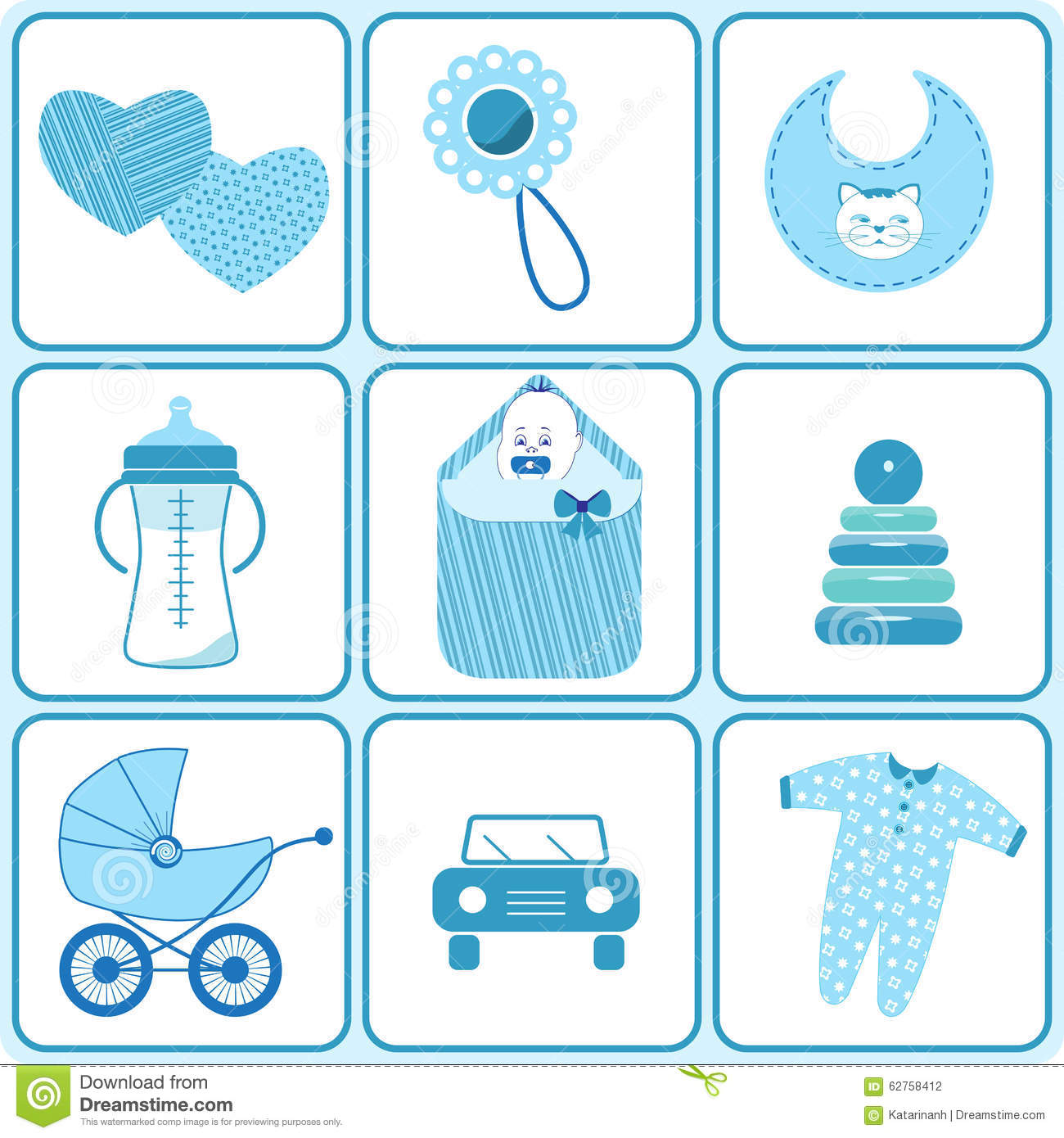 Baby Born Icons In Blue Color Stock Vector
