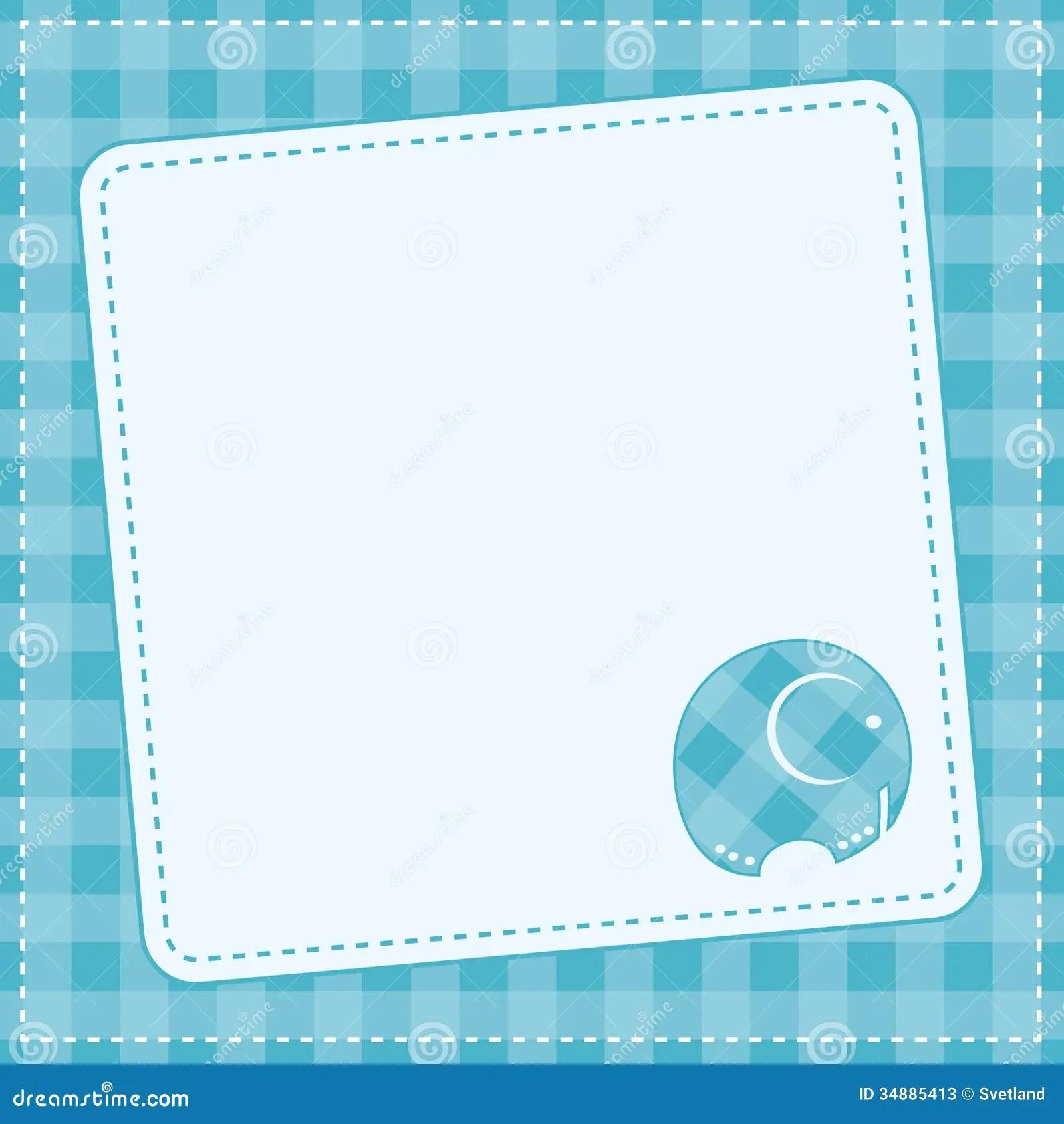 Animal Print Wallpaper Border Baby Boy Announcement Card Vector Illustration Stock