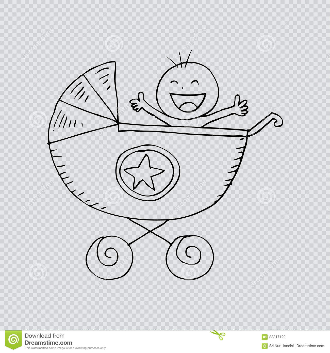 Baby Boy In Carriage Stock Illustration