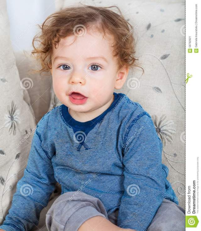 baby boy with curly hair stock image. image of infant - 58792921