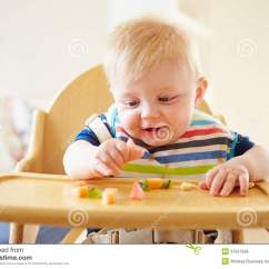 Baby Eating Chair Bedroom And Stool Boy Fruit In High Royalty Free Stock