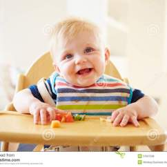 Baby High Chair For Eating Desk Chairs Boy Fruit In Royalty Free Stock