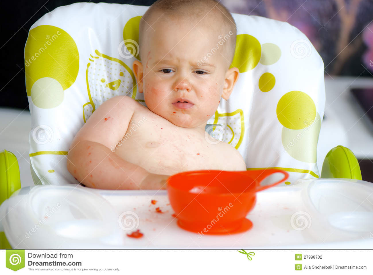High Chair For Baby Boy Baby Boy Eating In High Chair With Messy Face Stock