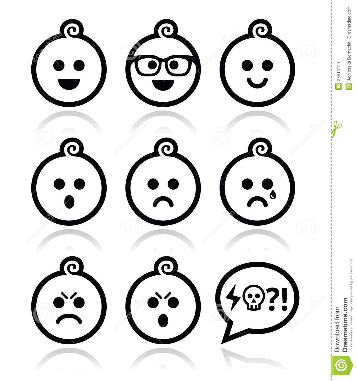 Baby Boy Faces Avatar Icons Set Royalty Free Stock Images