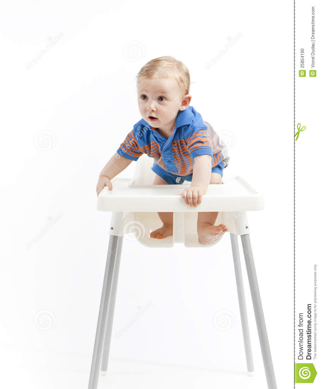Toddler Boy Chair Baby Boy In High Chair Stock Photo Image Of Standing