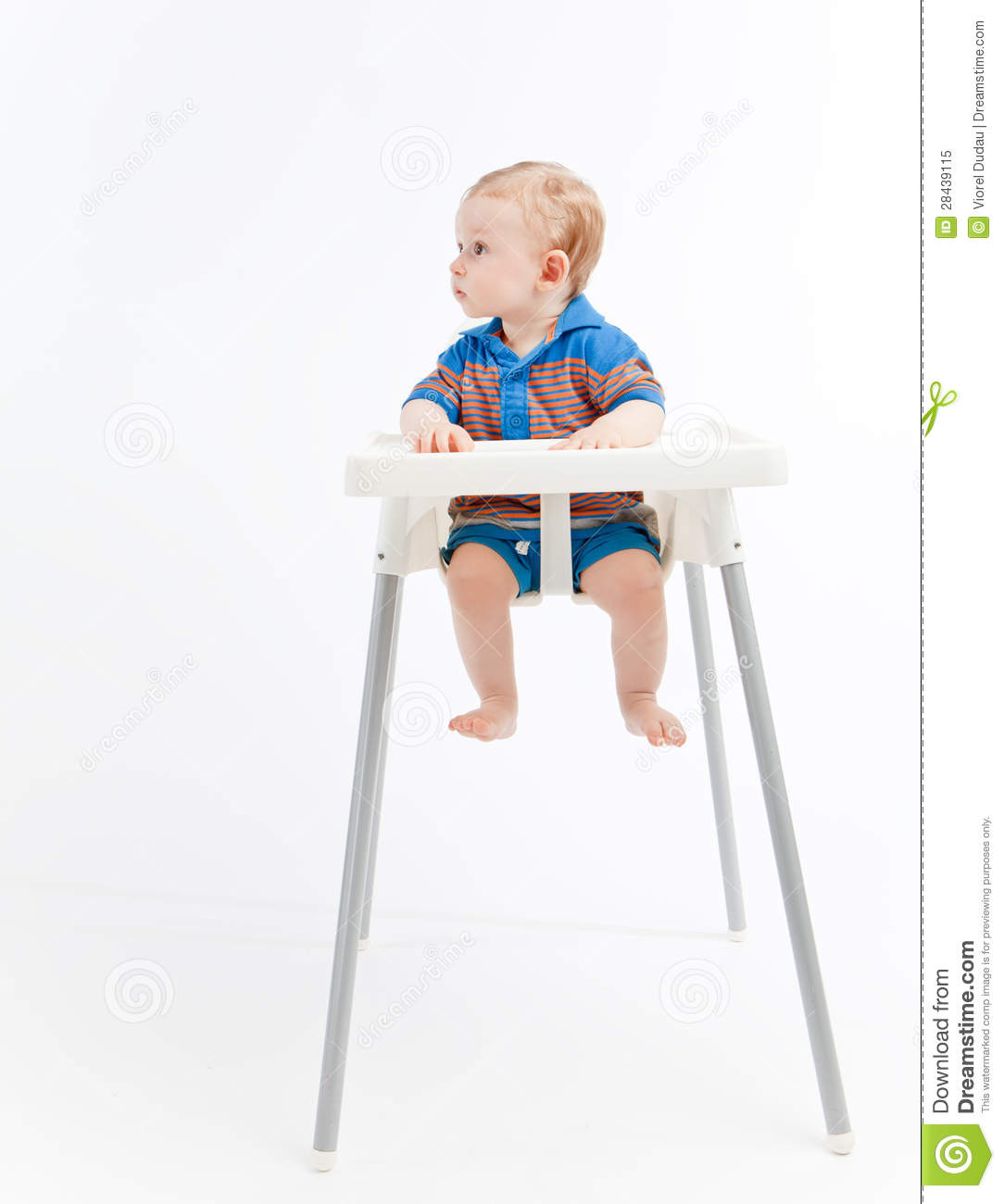 High Chair For Baby Boy Baby Boy In High Chair Looking Right Stock Image Image
