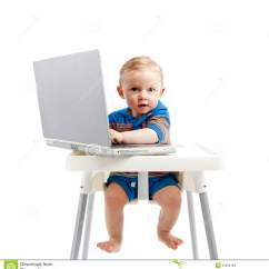 3 In One High Chair Plans See Through Dining Chairs Baby Boy With Laptop Stock Images - Image: 25854184