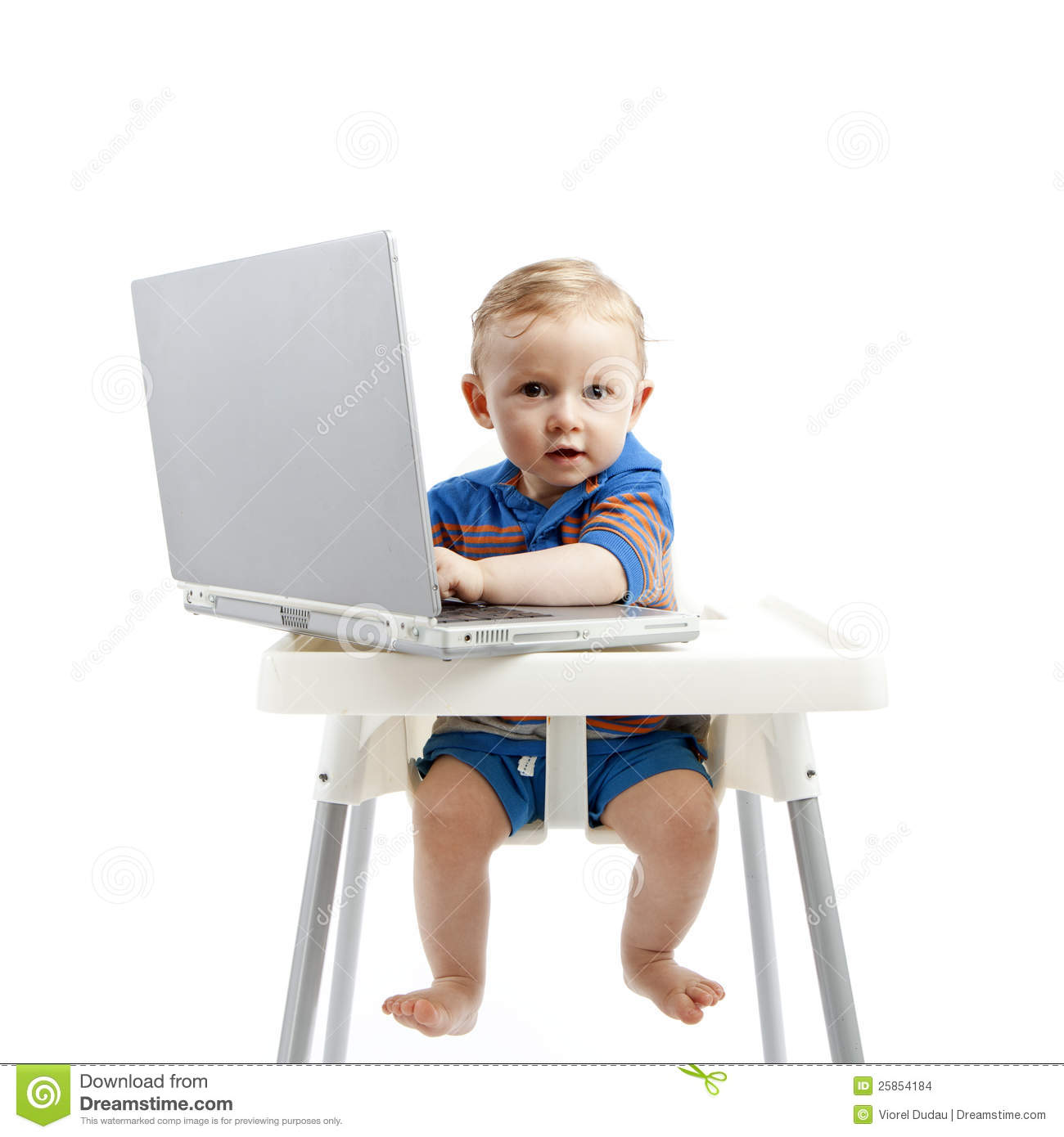 High Chair For Baby Boy Baby Boy With Laptop Stock Images Image 25854184