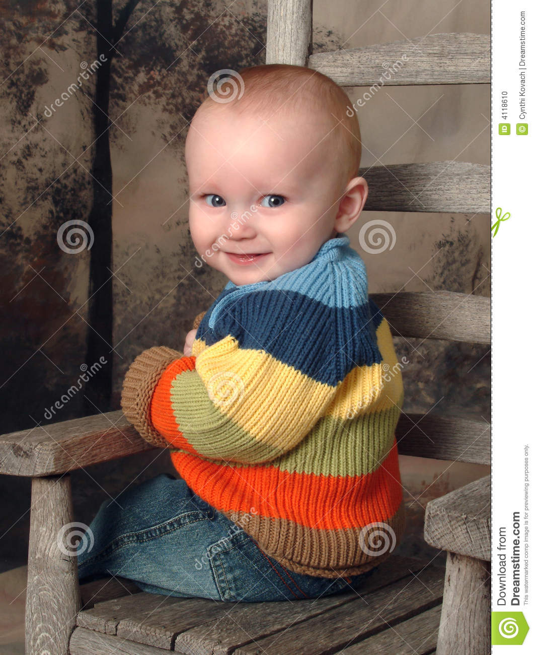 Toddler Boy Chair Baby Boy On Rustic Chair Stock Photo Image 4118610