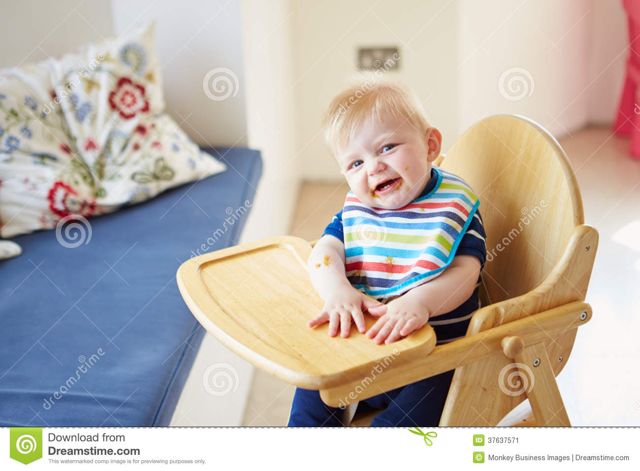 High Chair For Baby Boy Baby Boy In High Chair Royalty Free Stock Image