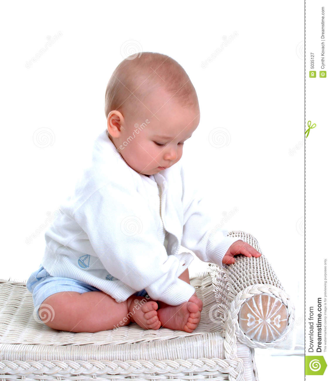 baby bamboo chair office visitor in white wicker stock photography