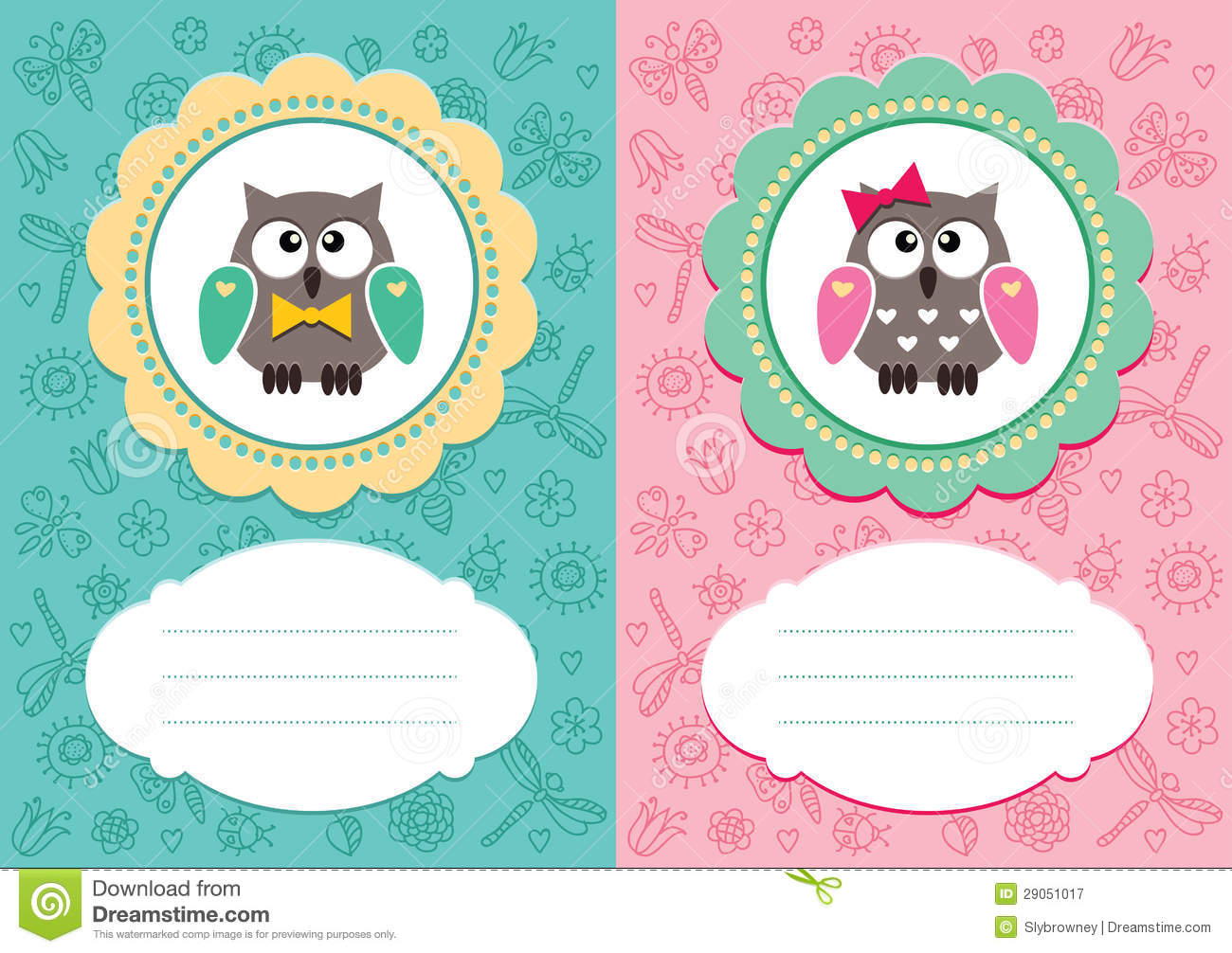 Baby Cards With Cute Owlets Stock Illustration