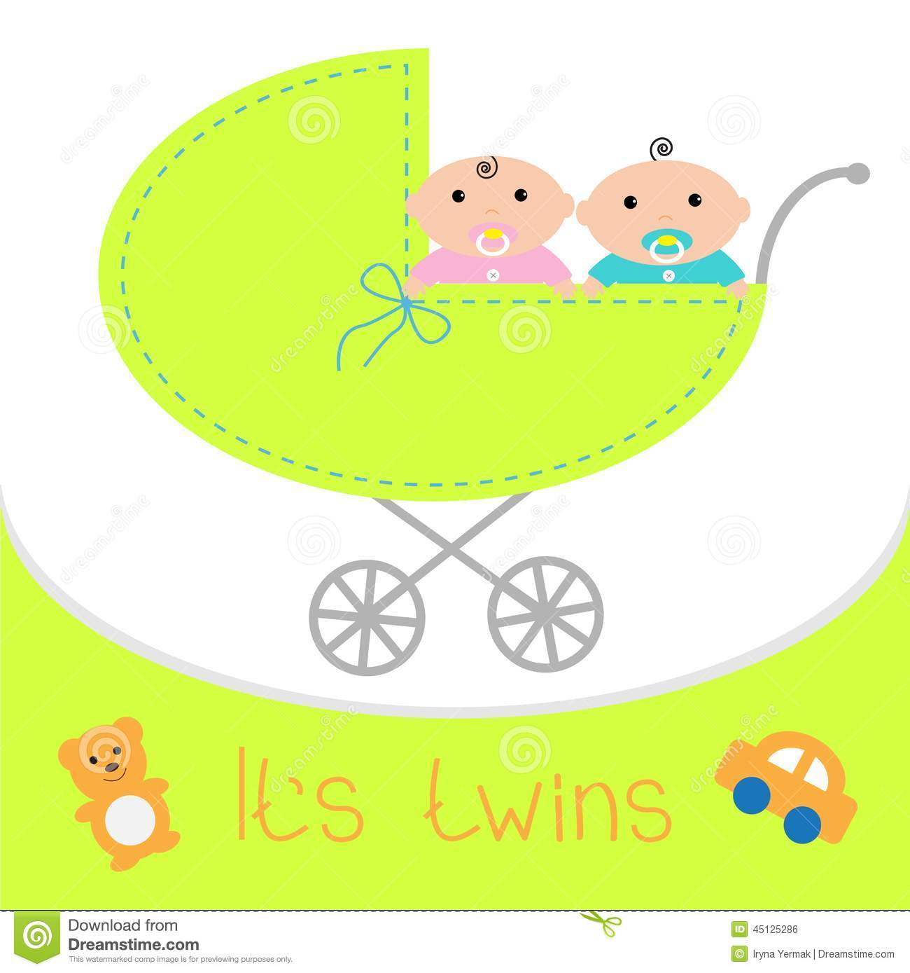 Sweet twins royalty free stock photo image 10320675 - Baby Carriage It 39 S Twins Boy And Girl Shower Card Flat