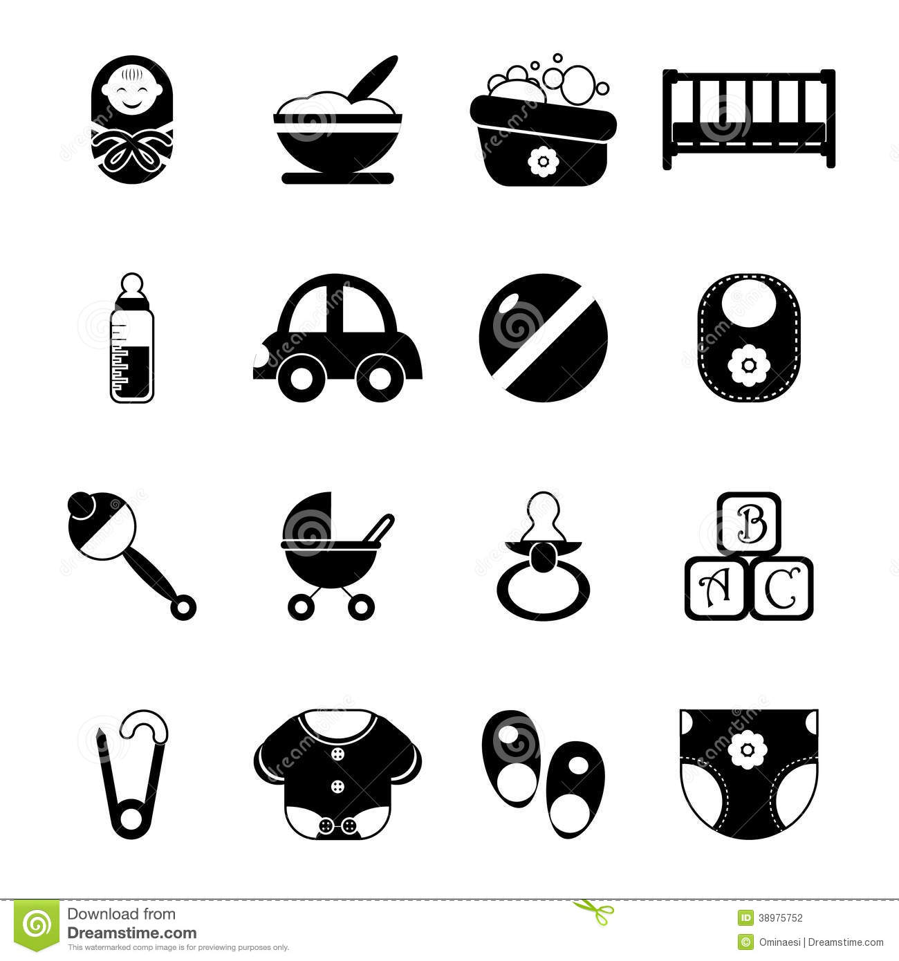 Baby Childhood Isolated Silhouette Icons Symbols Set