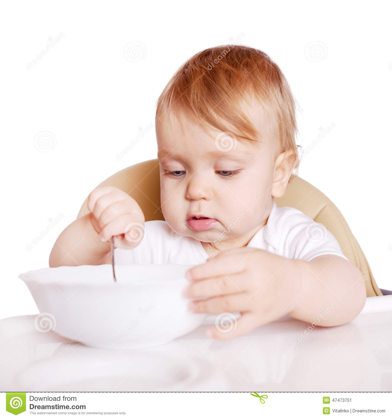 Baby Food Chair Baby Eating By Himself In High Chair Stock Image Image