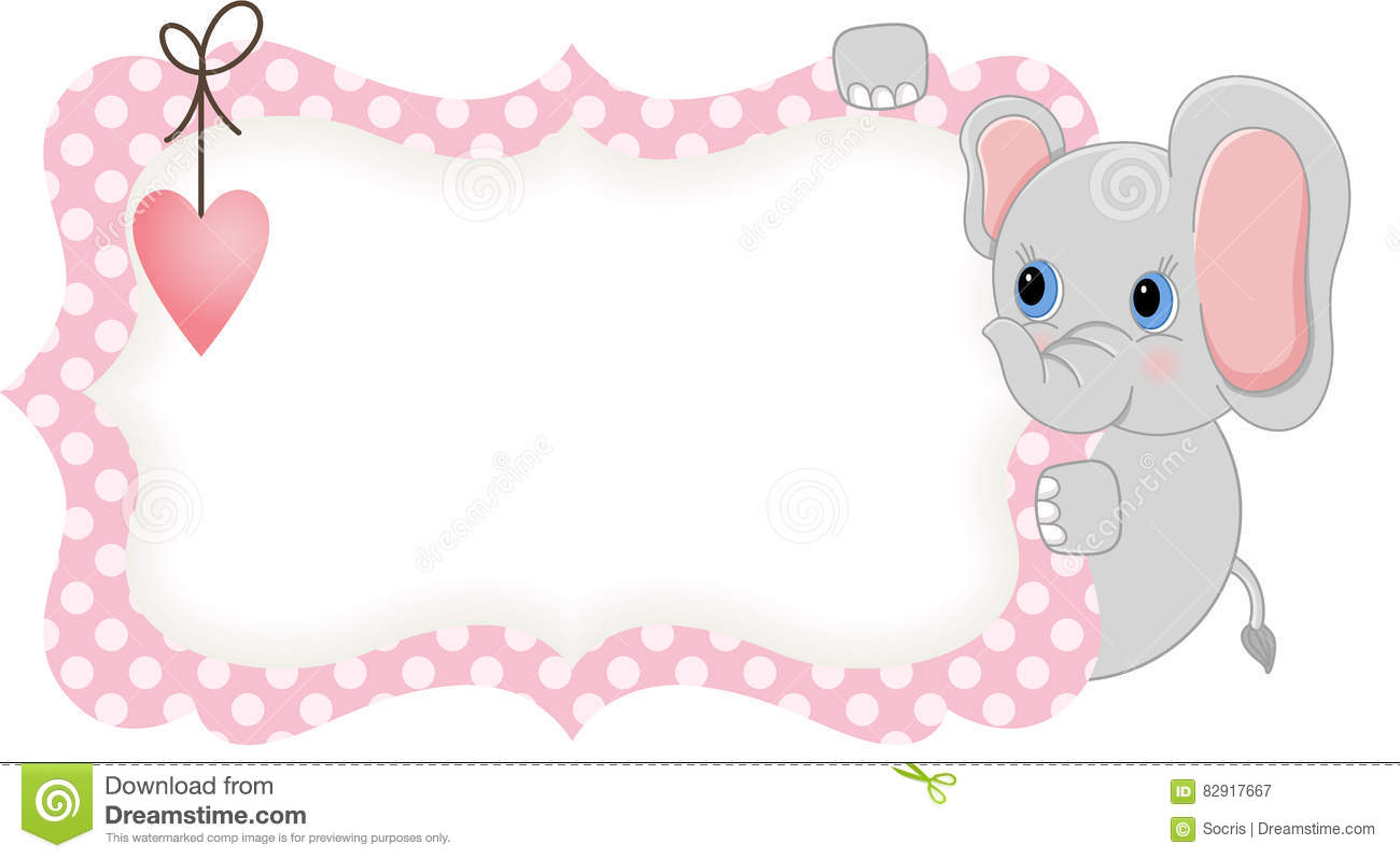 Baby Elephant Holding Pink Blank Label Stock Vector