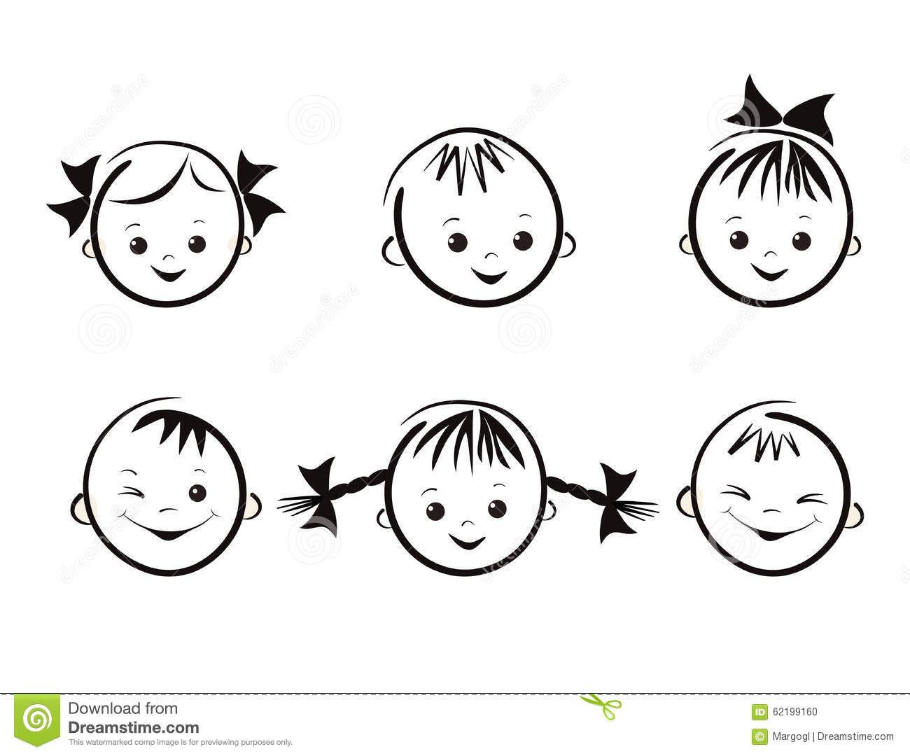 Vector Illustration Of Kids Faces Face Painting For Kids Cartoon Vector