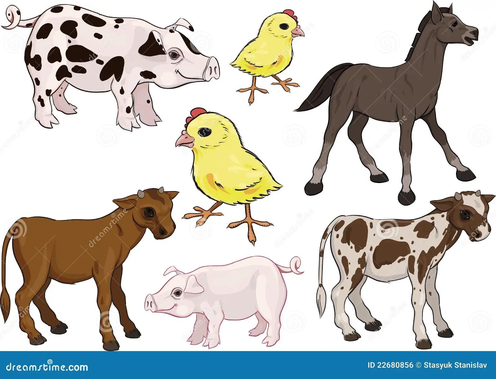 Baby Farm Animals Set Stock Vector Illustration Of Cute