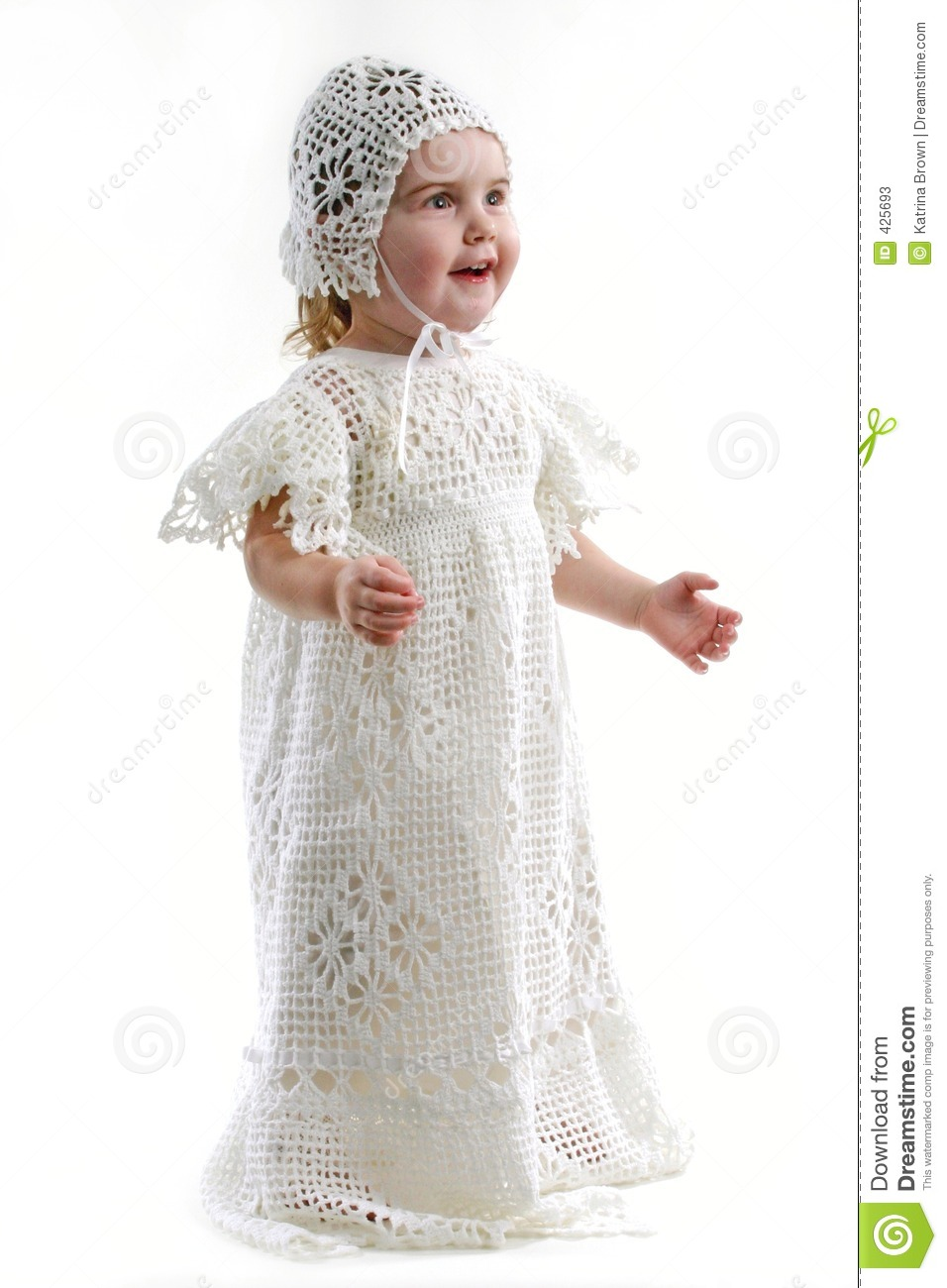 Baby Girl In Christening Gown Stock Image  Image of