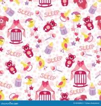 Baby Girl Cute Seamless Pattern. Sleep Newborn Ite Stock ...