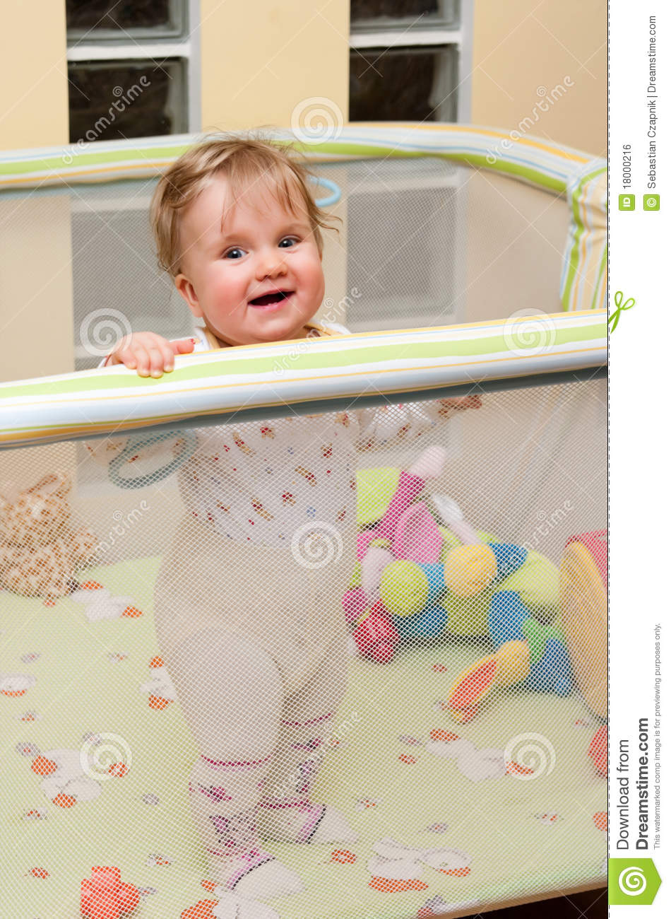 Baby Girl In Playpen Royalty Free Stock Image  Image