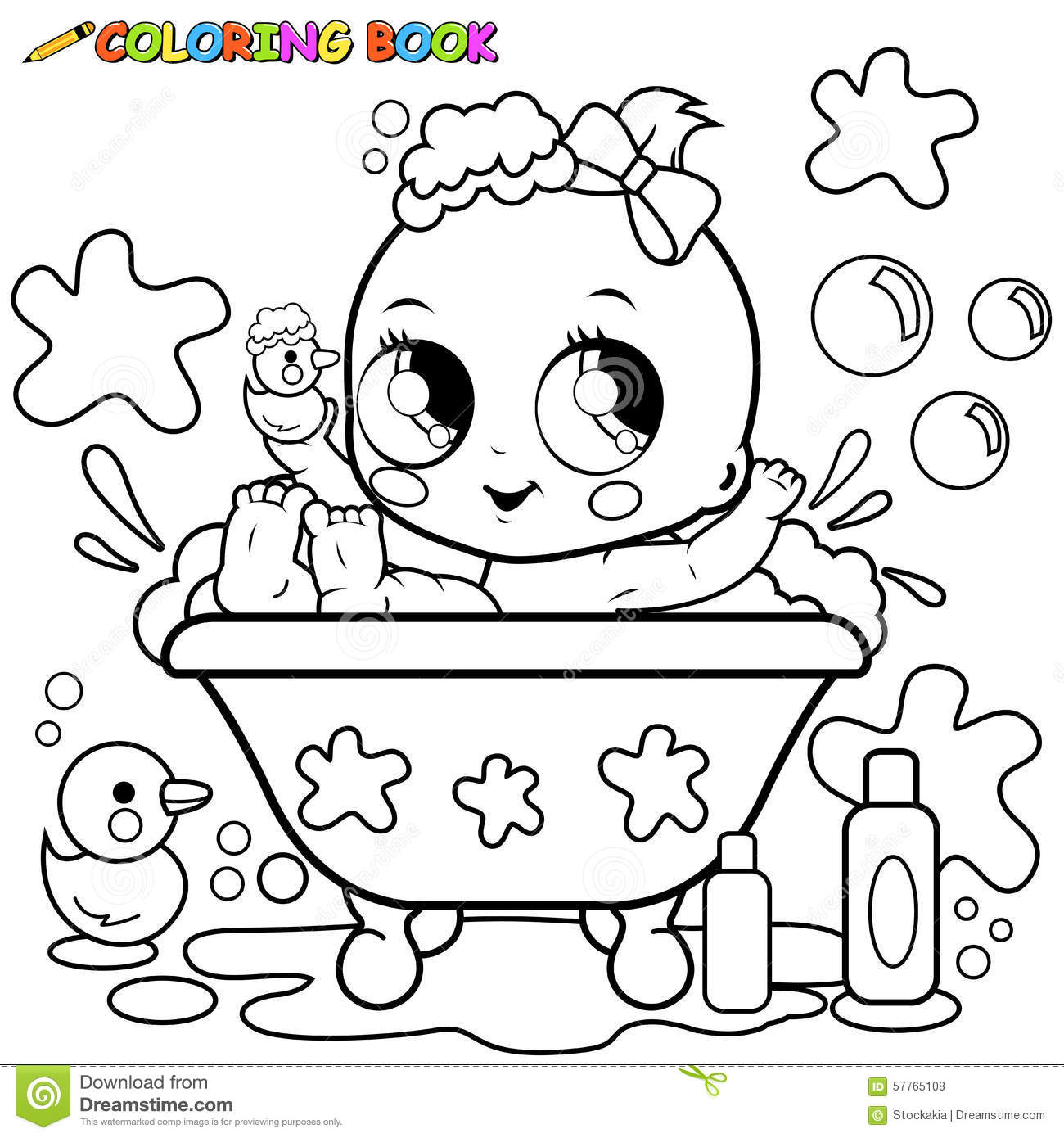 Baby Girl Taking A Bath Coloring Page Stock Vector