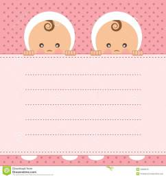 baby girl twins announcement card  [ 1300 x 1390 Pixel ]