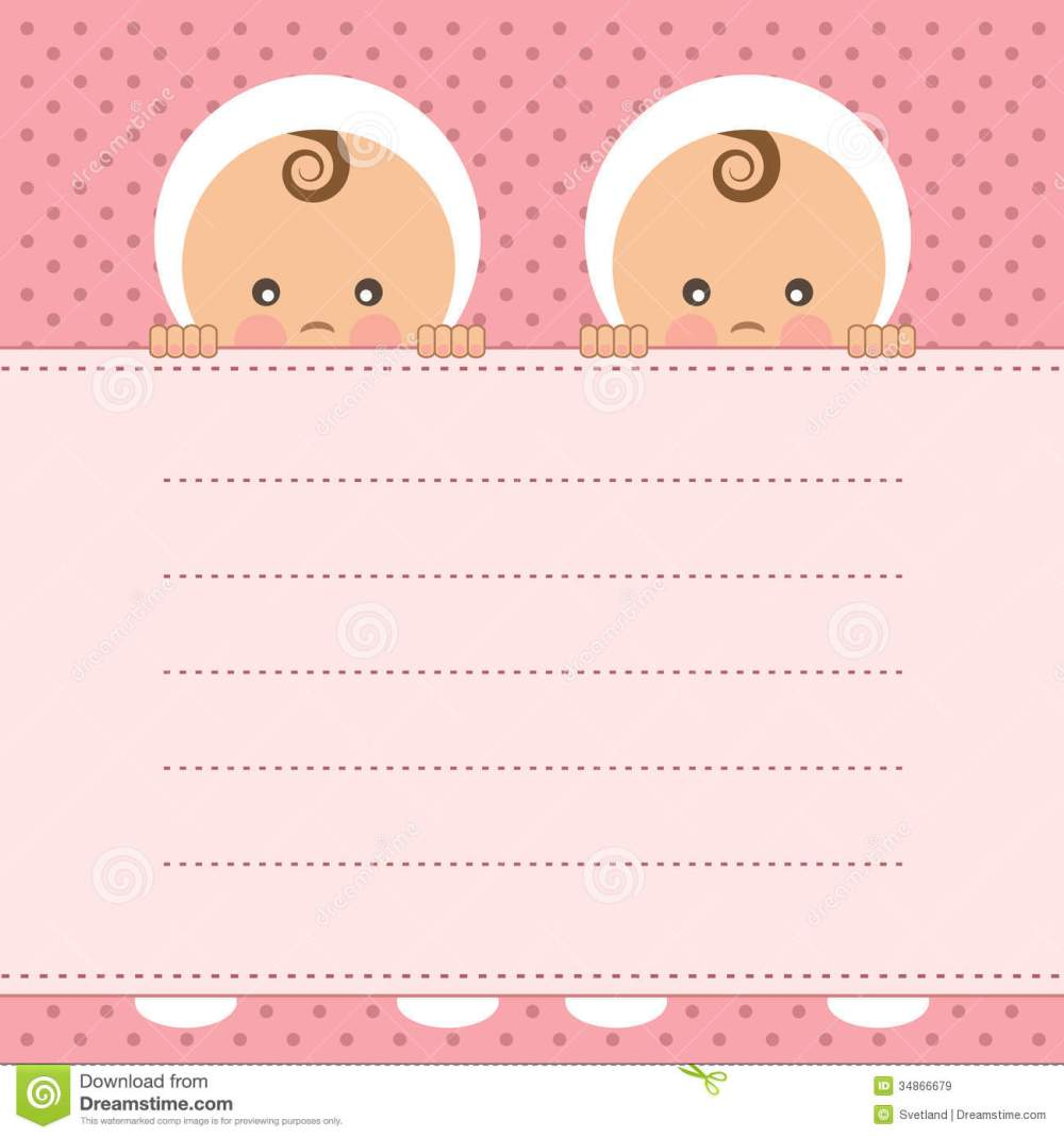 medium resolution of baby girl twins announcement card