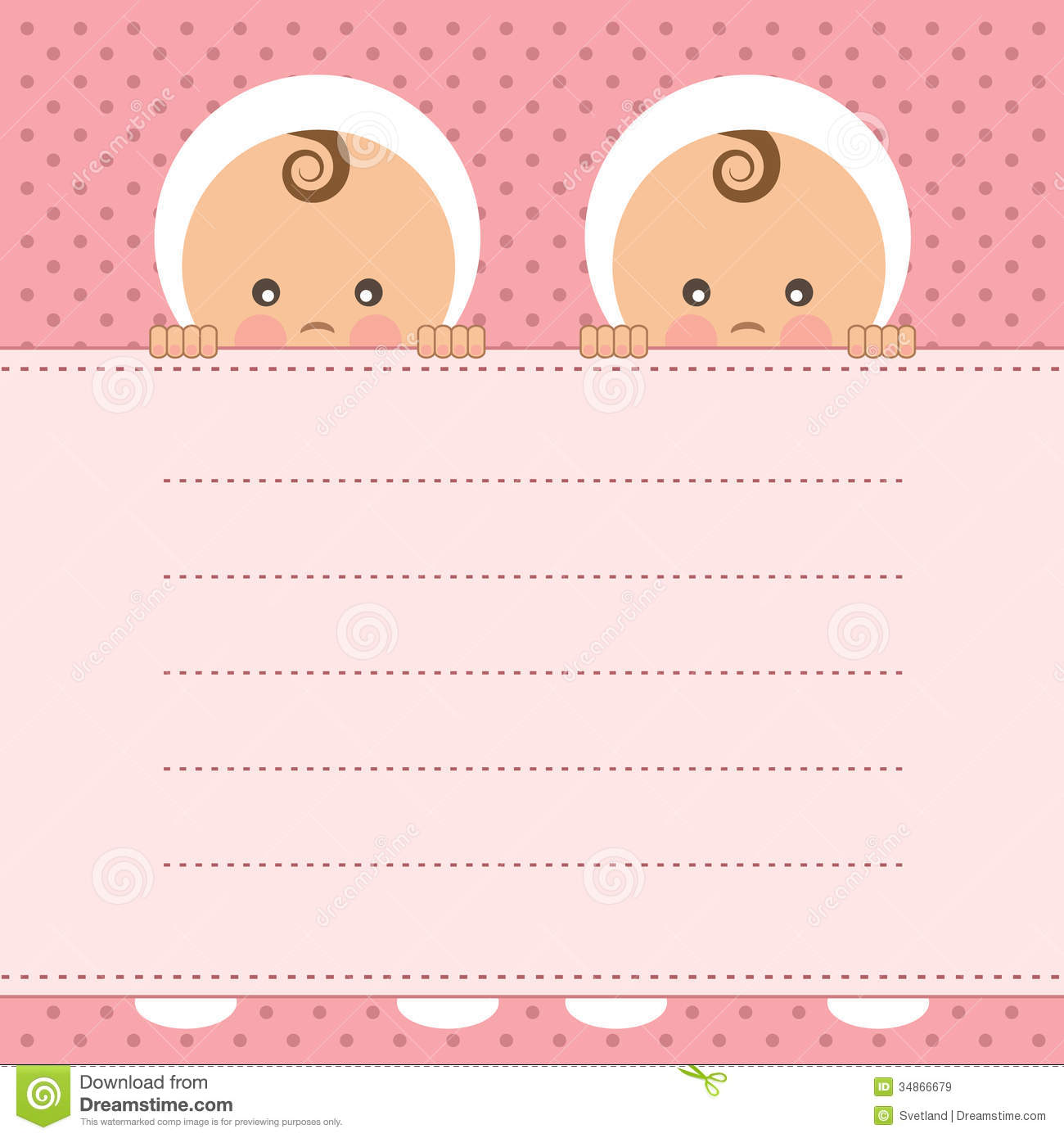 hight resolution of baby girl twins announcement card