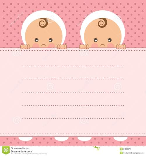 small resolution of baby girl twins announcement card