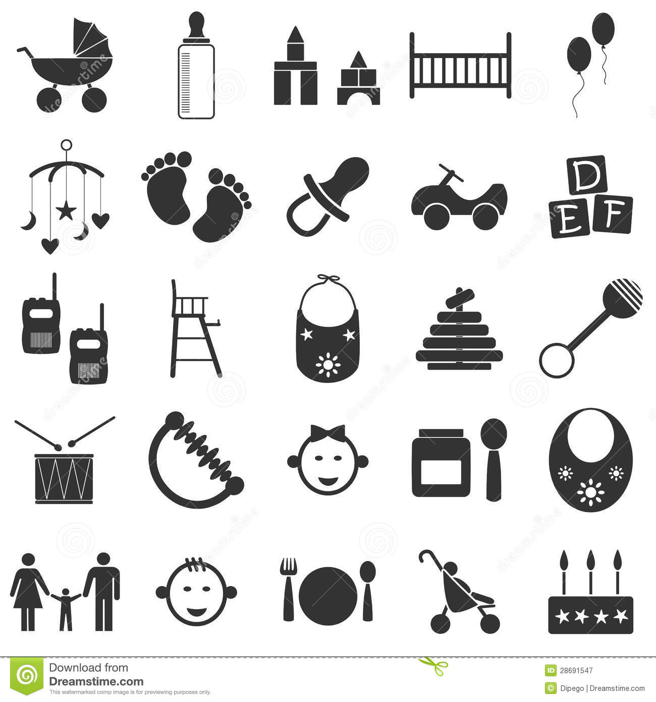 Baby Icons Stock Illustration Illustration Of Bottle