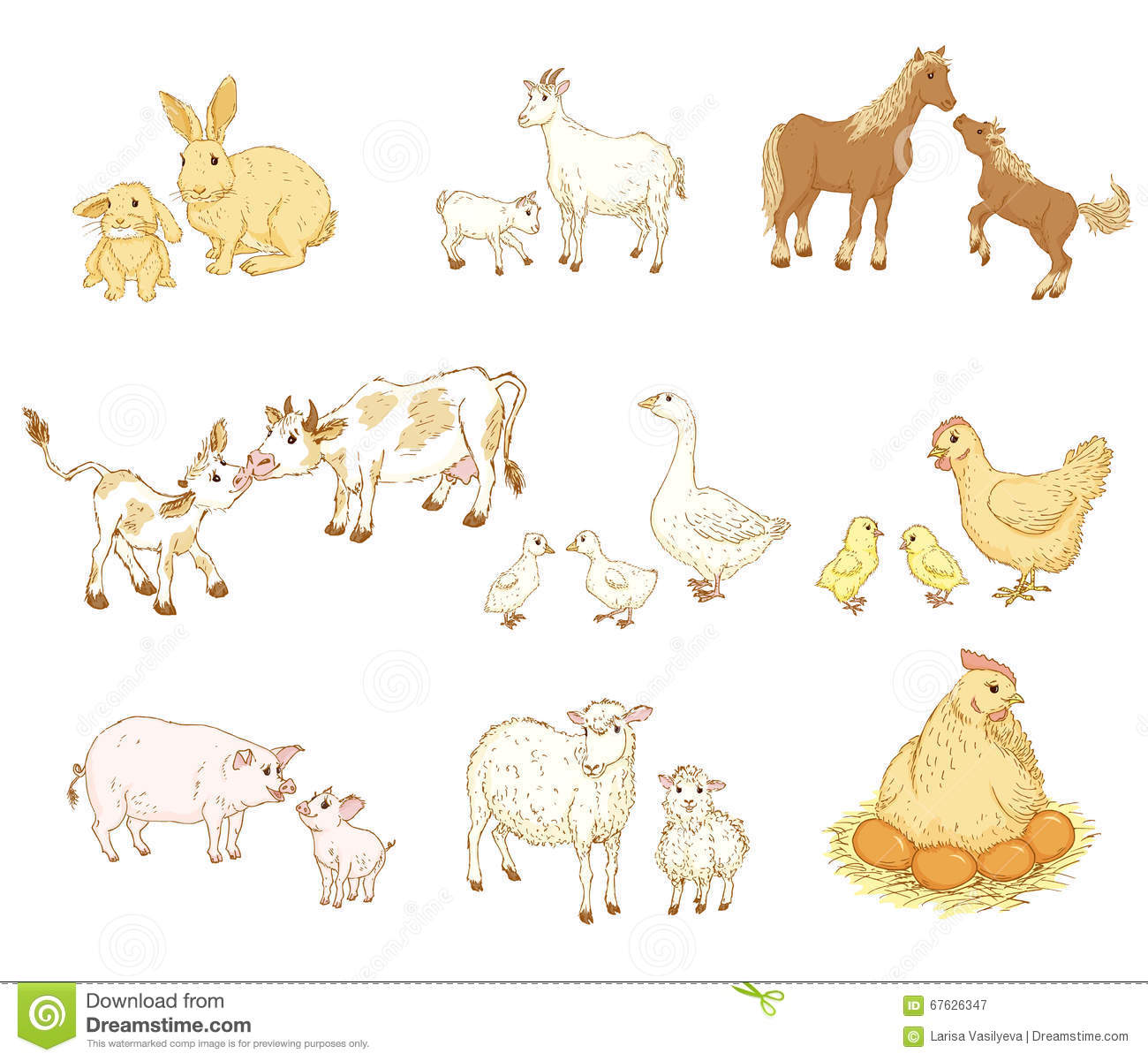 Baby And Mother Animals Stock Vector Illustration Of