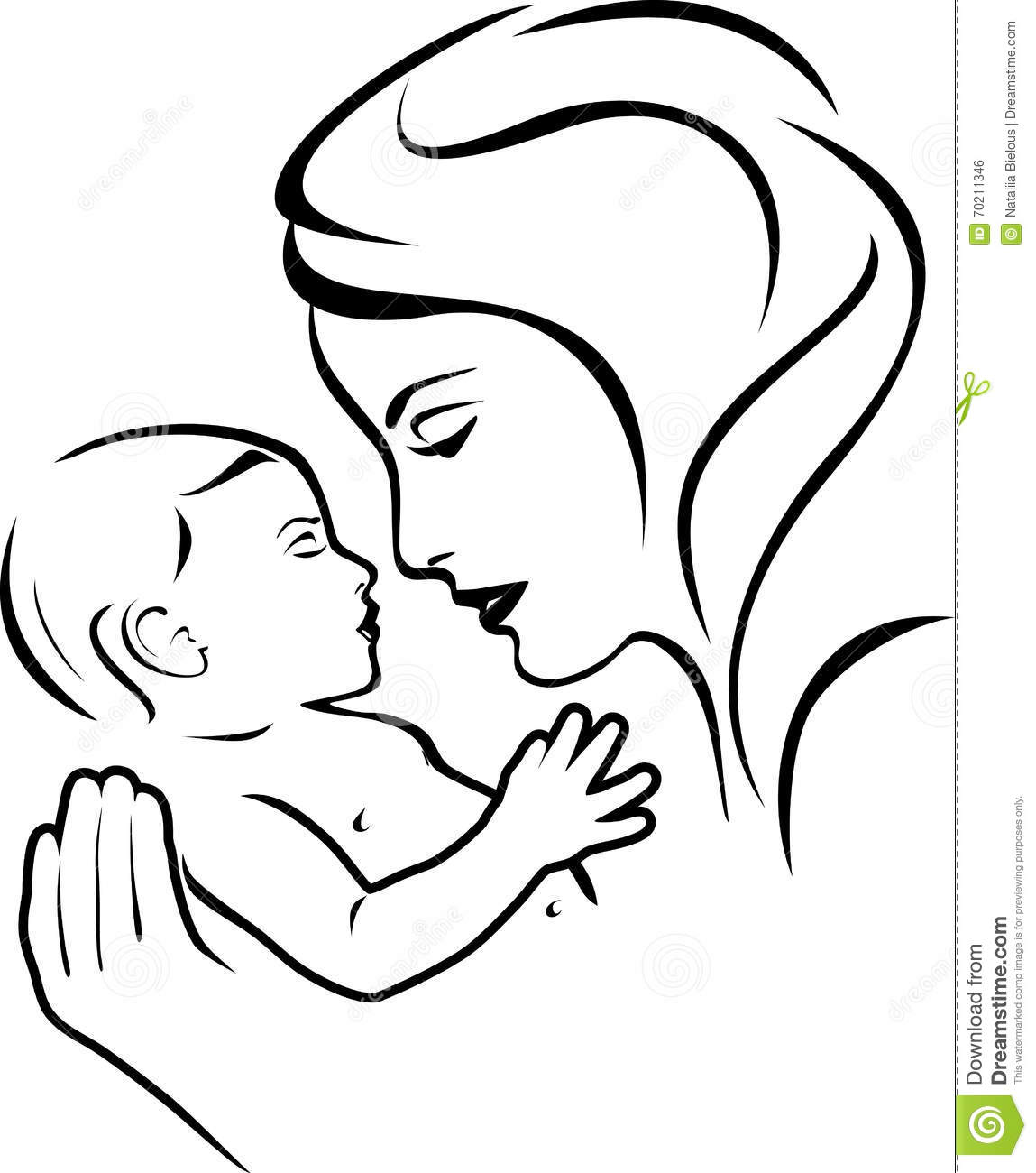 Baby And Mother Black And White Stock Vector
